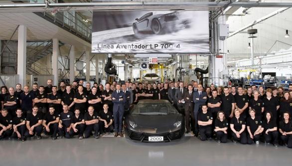 Произведена 2000-я копия Lamborghini Aventador